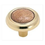 "1 1/4"" Diameter Knob Oak/Polished Brass"