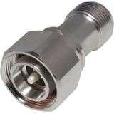4.3-10 MALE TO N FEMALE STRAIGHT LOW PIM ADAPTER; WHITE BRONZE PLATED BODY, SILVER PLATED CONTACT, PTFE DIELECTRIC