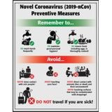 Accuform® SP125293JL Safety Poster: Novel Coronavirus (COVID-19) Preventative Measures