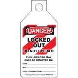 Accuform® STOPOUT® KDD166 Tab Tag: DANGER LOCKED OUT DO NOT OPERATE (LOTO)
