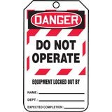 Accuform® MLT409CTP Safety Tag: DANGER DO NOT OPERATE EQUIPMENT LOCKED OUT BY (LOTO)