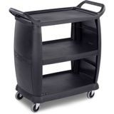 Carlisle® 3 Shelf Black Plastic 300 Lbs Capacity Bus Cart (CC2036)