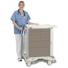 Premier Aluminum Two-Tone Anesthesia Carts / Mobile Workstations