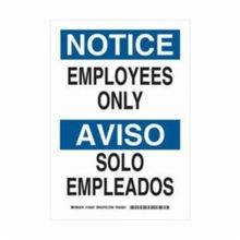 Brady 125022 Bilingual Rectangular Notice Sign, 14 in H x 10 in W, Black/Blue on White, Corner Hole Mount, B-555 Aluminum