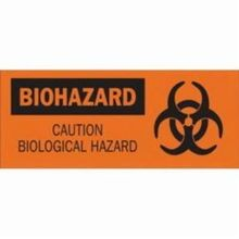 Brady 69789 Rectangular Biohazard Sign, 7 in H x 17 in W, Black on Orange, Corner Hole Mount, B-120 Fiberglass