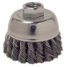 Mighty-Mite 13021 Cup Brush, 2-3/4 in Dia, 3/8-24 UNF, 0.014 in Steel Standard/Twist Knot Wire