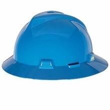 V-Gard 475368 Full Brim Vented Hard Hat, Fits Hat 6-1/2 to 8 in Blue Polyethylene Fas-Trac III 4-Point Ratchet Suspension, Class E
