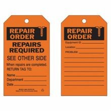 Brady 86624 2-Sided Economy Rectangular Write-On Safety Inspection Tag, 7 in H x 4 in W, Black on Orange, 3/8 in Dia Hole, B-851 Polyester