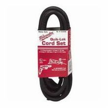 Milwaukee 48-76-4008 Grounded Power Supply Cord, 8 ft, 125 VAC, 10 A, 3-Wire, QUIK-LOK Connector, Hi-Flex