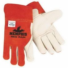 Memphis 4921L Red Ram 4921 Premium Grade Welding Gloves, L, Leather Palm, Brown/Cream, Standard Finger, Wing Thumb, Grain Cowhide Leather/Kevlar Stitching