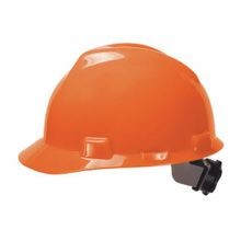 V-Gard 475361 Front Brim Hard Hat, 6-1/2 in Fits Mini Hat 8 in Fits Max Hat Polyethylene 4-Point Fas-Trac III Suspension, ANSI Electrical Class Rating: Class E, ANSI Impact Rating: Type 1, Ratchet Adjustment