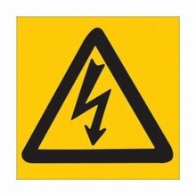 Brady 89153 High Performance Square Electrical Safety Sign, 3 in W x 3 in H, Black on Yellow, B-302 Polyester, Electrical Symbol