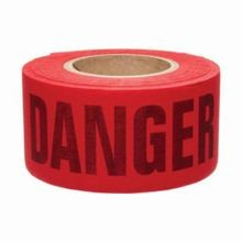 Brady 91084 Re-Pulpable Barricade Tape, Danger, 3 in W x 50 yd L, Black on Red, Cotton/Woven