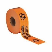 Brady 91448 Light Weight Non-Adhesive Standard Barricade Tape, CAUTION BIOHAZARD, 3 in W x 1000 ft L, Black on Orange, Polyethylene