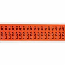 Brady CleanLift 44308 C Style Self-Adhesive Conduit and Voltage Marker Label, 2-1/4 in W x 1/2 in L, Black Legend, Black on Orange Background, B-498 Vinyl Coated Fabric