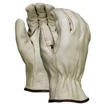 Memphis 3402 Economy Grade Drivers Gloves, XL, Grain Pig Skin Leather Palm, Beige, Polyester/Cotton Thread/Leather