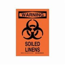 Brady 14685 Rectangular Safety Sign, 14 in H x 10 in W, Black on Orange, Corner Hole Mount, B-555 Aluminum