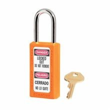 Master Lock Zenex 411 Durable Lightweight Lockout Padlock, Different Key, 1/4 in Dia x 1-1/2 in H Shackle, Orange