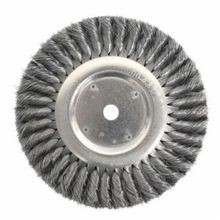 Weiler 08375 Wire Wheel Brush With Nut, 8 in Dia x 5/8 in W, 5/8-11 UNC, 0.0118 in Standard/Twist Knot Wire