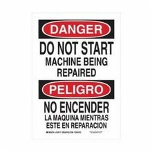 Brady 125178 Rectangular Danger Sign, 14 in H x 10 in W, Black/Red on White, Surface Mount, B-555 Aluminum