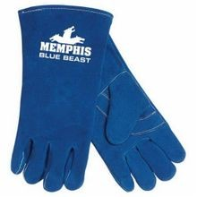 Memphis 4600XL Blue Beast 4600 Premium Grade Welding Gloves, XL, Leather Palm, Blue, Standard Finger/Wing Thumb, Split Select Shoulder Cow Skin Leather