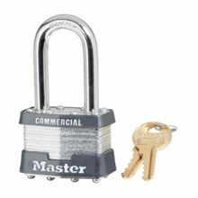 Master Lock 1KALF Commercial Grade Non-Rekeyable Safety Padlock, Alike Key, 5/16 in Shackle, Laminated Steel Body