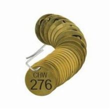 Brady 23527 1-Sided Circular Numbered Stamped Valve Tag, 1-1/2 in W, Black on Brass, 0.188 in Hole, B-907 Brass