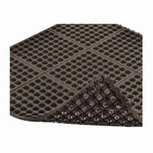 NoTrax 650SFR33BL Niru Cushion-Ease 650 Square Oil Resistant Anti-Fatigue Floor Mat, 3 ft W x 3 ft L, 3/4 in THK, Black, Nitrile Rubber
