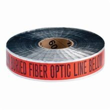 Brady Identoline 91606 Underground Warning Tape, CAUTION BURIED FIBER OPTIC LINE BELOW, 2 in W x 1000 ft L, Black on Orange, B-721 Aluminum/Polyester