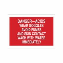 Brady 73490 Rectangular Chemical and Hazardous Material Sign, 10 in H x 14 in W, White on Red, Corner Hole Mount, B-120 Fiberglass