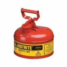 Justrite 7110100 Type I Safety Can With Full Fisted Grip Handle, 1 gal, 9-1/2 in Dia x 11 in H, Galvanized Steel, Red