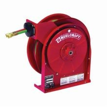 Reelcraft TW5425 OLPT TW5000 Dual Swivel Hose Reel, 1/4 in ID x 25 ft L Hose, 9/16-18 Female Hose Outlet, 150 deg F, 200 psi