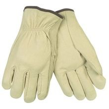 Memphis 3400 Industrial Grade Drivers Gloves, M, Grain Pig Skin Leather Palm, Beige, Polyester/Cotton Thread/Leather