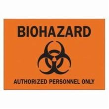 Brady 22212 Rectangular Biohazard Sign, 10 in H x 14 in W, Black on Orange, Corner Hole Mount, B-401 Polystyrene