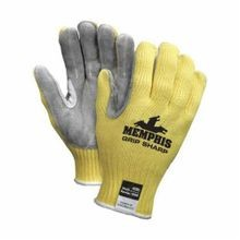 Memphis 9686 Grip Sharp Durable Cut-Resistant Gloves, XL, Leather Palm, Yellow, Standard Finger/Reinforced Thumb Crotch