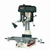 JET350017 Mill/Drill Machine, 1 hp, 115/230 VAC, 7-1/2 in L x 23 in W Table, 14 in Longitudinal Travel, Step Pulley Speed Control, R-8 Spindle