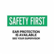Brady 69182 Rectangle Ear Protection Sign, 10 in H x 14 in W, Green/Black on White, Surface Mount