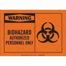 Brady 62550 Rectangular Biohazard Sign, 7 in H x 10 in W, Black on Orange, Corner Hole Mount, B-120 Fiberglass