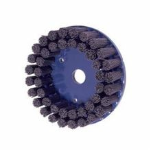 Nylox 85816 Composite Back Disc Brush, 4 in Dia, 7/8 in, 0.04 in Silicon Carbide Crimped/Round/Straight Wire
