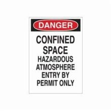 Brady 22432 Rectangular Confined Space Sign, 14 in H x 10 in W, Black/Red on White, Corner Hole Mount, B-401 Polystyrene
