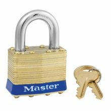 Master Lock 2KALJ Non-Rekeyable Safety Padlock, Alike Key, 5/16 in Shackle, Laminated Brass Body