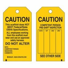 Brady 86684 2-Sided Rectangular Write-On Scaffolding Tag, 5-3/4 in H x 3 in W, Black on Yellow, 3/8 in Dia Hole, B-853 Cardstock