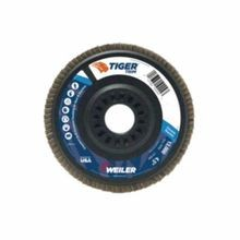 Trimmable Tiger 50011 Coated Abrasive Flap Disc, 5 in Dia, 7/8 in Center Hole, 60 Grit, Medium Grade, Zirconia Alumina Abrasive, Type 29/Angled Disc