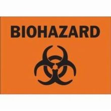 Brady 43320 Rectangular Biohazard Sign, 10 in H x 14 in W, Black on Orange, Corner Hole Mount, B-555 Aluminum