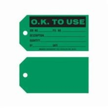 Brady 86761 1-Sided Rectangular Write-On Production Status Tag, 3 in H x 5-3/4 in W, Black on Green, 3/8 in Hole, B-853 Cardstock