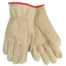 Memphis 3202 Economy Grade Drivers Gloves, S, Grain Cow Skin Leather Palm, Beige, Polyester/Cotton Thread/Leather