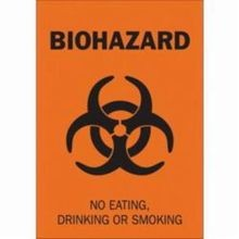 Brady 89159 High Performance Rectangular Biohazard Sign, 14 in H x 10 in W, Black on Orange, Self-Adhesive Mount, B-485 Polyester