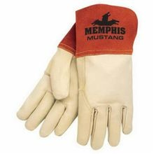 Memphis 4950M Mustang Premium Grade Welding Gloves, M, Grain Cow Skin Leather Palm, Beige, Standard Finger, Wing Thumb, Leather