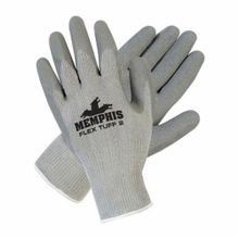Memphis 9688M 9688 FlexTuff II Coated Gloves, M, Latex Palm, Gray, Standard Finger, Cotton/Polyester
