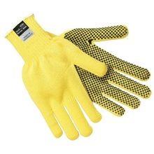 Memphis 9365 Regular Weight Cut-Resistant Gloves, L, PVC Palm, Yellow/Brown, Dots on Both Sides
